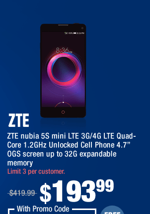 """ZTE nubia 5S mini LTE 3G/4G LTE Quad-Core 1.2GHz Unlocked Cell Phone 4.7"""" OGS screen up to 32G expandable memory"""