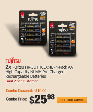 (2x) Fujitsu HR-3UTHCEX(4B) 4-Pack AA High Capacity Ni-MH Pre-Charged Rechargeable Batteries