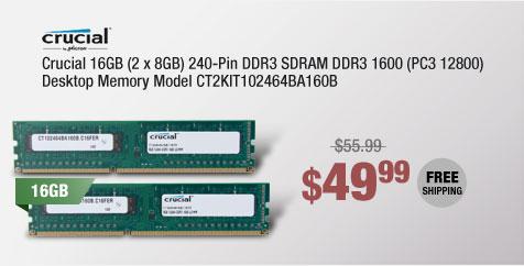 Crucial 16GB (2 x 8GB) 240-Pin DDR3 SDRAM DDR3 1600 (PC3 12800) Desktop Memory Model CT2KIT102464BA160B