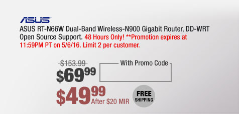 ASUS RT-N66W Dual-Band Wireless-N900 Gigabit Router, DD-WRT Open Source Support