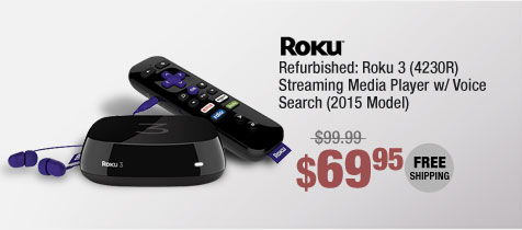 Refurbished: Roku 3 (4230R) Streaming Media Player w/ Voice Search (2015 Model)
