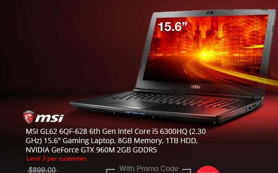 "MSI GL62 6QF-628 6th Gen Intel Core i5 6300HQ (2.30 GHz) 15.6"" Gaming Laptop, 8GB Memory, 1TB HDD, NVIDIA GeForce GTX 960M 2GB GDDR5"