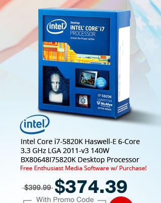 Intel Core i7-5820K Haswell-E 6-Core 3.3 GHz LGA 2011-v3 140W BX80648I75820K Desktop Processor