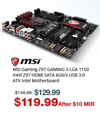 MSI Gaming Z97 GAMING 5 LGA 1150 Intel Z97 HDMI SATA 6Gb/s USB 3.0 ATX Intel Motherboard