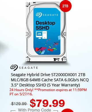 "Seagate Hybrid Drive ST2000DX001 2TB MLC/8GB 64MB Cache SATA 6.0Gb/s NCQ 3.5"" Desktop SSHD (5 Year Warranty)"