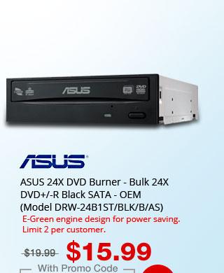 ASUS 24X DVD Burner - Bulk 24X DVD+/-R Black SATA - OEM (Model DRW-24B1ST/BLK/B/AS)