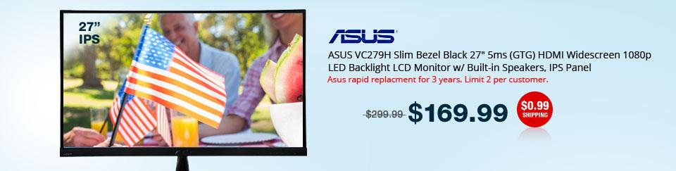 "ASUS VC279H Slim Bezel Black 27"" 5ms (GTG) HDMI Widescreen 1080p LED Backlight LCD Monitor w/ Built-in Speakers, IPS Panel"