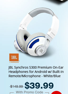 JBL Synchros S300 Premium On-Ear Headphones for Android w/ Built-In Remote/Microphone - White/Blue