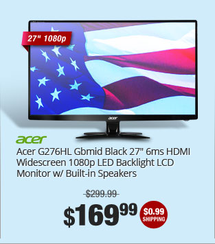 "Acer G276HL Gbmid Black 27"" 6ms HDMI Widescreen 1080p LED Backlight LCD Monitor w/ Built-in Speakers"