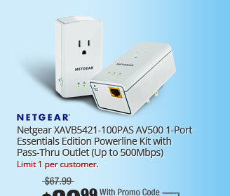 Netgear XAVB5421-100PAS AV500 1-Port Essentials Edition Powerline Kit with Pass-Thru Outlet (Up to 500Mbps)