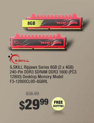 G.SKILL Ripjaws Series 8GB (2 x 4GB) 240-Pin DDR3 SDRAM DDR3 1600 (PC3 12800) Desktop Memory Model F3-12800CL9D-8GBRL