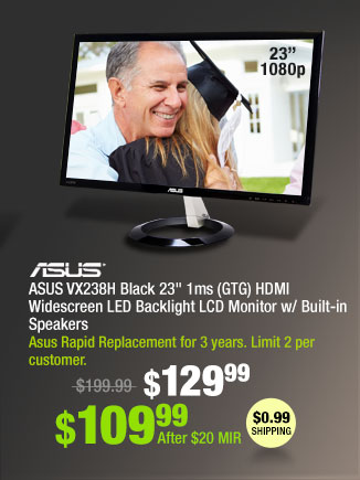 """ASUS VX238H Black 23"""" 1ms (GTG) HDMI Widescreen LED Backlight LCD Monitor w/ Built-in Speakers"""