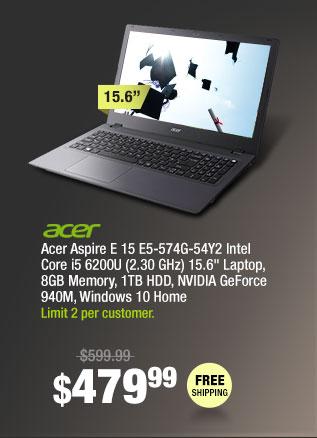 "Acer Aspire E 15 E5-574G-54Y2 Intel Core i5 6200U (2.30 GHz) 15.6"" Laptop, 8GB Memory, 1TB HDD, NVIDIA GeForce 940M, Windows 10 Home"