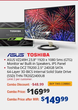 "Combo: ASUS VZ249H 23.8"" 1920 x 1080 5ms (GTG) Monitor w/ Built-in Speakers, IPS Panel. Toshiba OCZ TR200 2.5"" 240GB SATA 64-Layer 3D BiCS Internal Solid State Drive (SSD) THN-TR20Z2400U8."