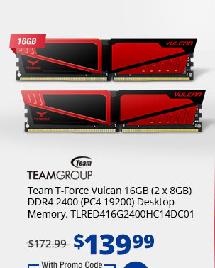 Team T-Force Vulcan 16GB (2 x 8GB) DDR4 2400 (PC4 19200) Desktop Memory, TLRED416G2400HC14DC01