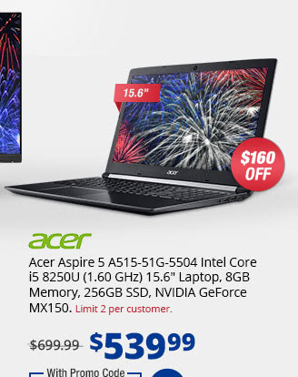"Acer Aspire 5 A515-51G-5504 Intel Core i5 8250U (1.60 GHz) 15.6"" Laptop, 8GB Memory, 256GB SSD, NVIDIA GeForce MX150"