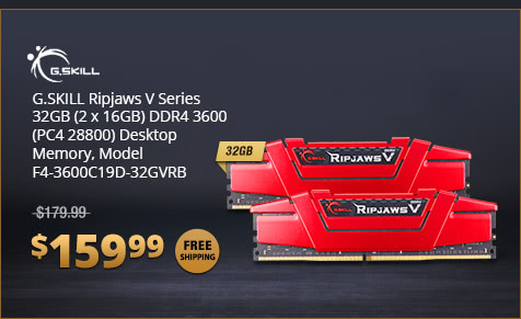 G.SKILL Ripjaws V Series 32GB (2 x 16GB) DDR4 3600 (PC4 28800) Desktop Memory, Model F4-3600C19D-32GVRB