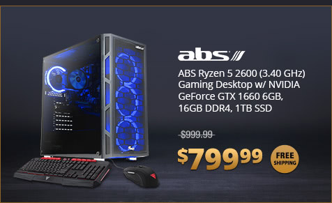 ABS Ryzen 5 2600 (3.40 GHz) Gaming Desktop w/ NVIDIA GeForce GTX 1660 6GB, 16GB DDR4, 1TB SSD