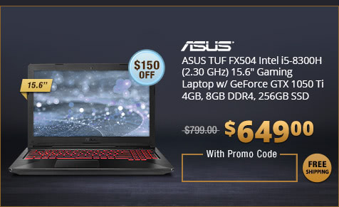 "ASUS TUF FX504 Intel i5-8300H (2.30 GHz) 15.6"" Gaming Laptop w/ GeForce GTX 1050 Ti 4GB, 8GB DDR4, 256GB SSD"