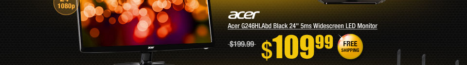 "Acer G246HLAbd Black 24"" 5ms Widescreen LED Monitor"