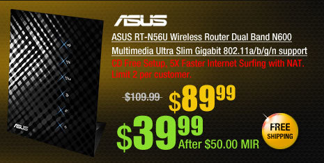 ASUS RT-N56U Wireless Router Dual Band N600 Multimedia Ultra Slim Gigabit 802.11a/b/g/n support