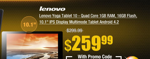 "Lenovo Yoga Tablet 10 - Quad Core 1GB RAM, 16GB Flash, 10.1"" IPS Display Multimode Tablet Android 4.2"