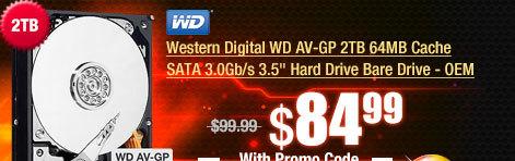 """Western Digital WD AV-GP 2TB 64MB Cache SATA 3.0Gb/s 3.5"""" Hard Drive Bare Drive - OEM"""