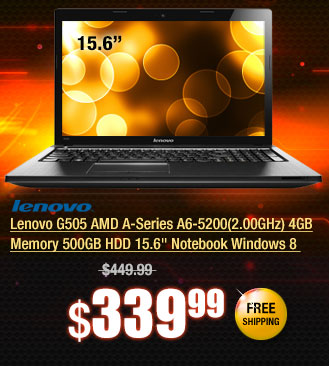 "Lenovo G505 AMD A-Series A6-5200(2.00GHz) 4GB Memory 500GB HDD 15.6"" Notebook Windows 8"