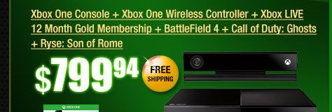 Xbox One Console + Xbox One Wireless Controller + Xbox LIVE 12 Month Gold Membership + BattleField 4 + Call of Duty: Ghosts + Ryse: Son of Rome