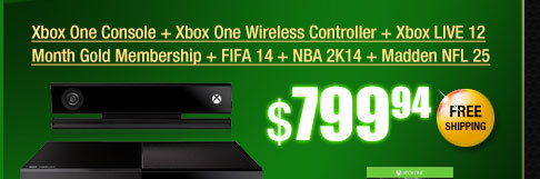 Xbox One Console + Xbox One Wireless Controller + Xbox LIVE 12 Month Gold Membership + FIFA 14 + NBA 2K14 + Madden NFL 25