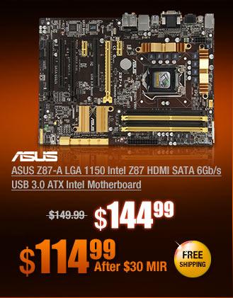 ASUS Z87-A LGA 1150 Intel Z87 HDMI SATA 6Gb/s USB 3.0 ATX Intel Motherboard