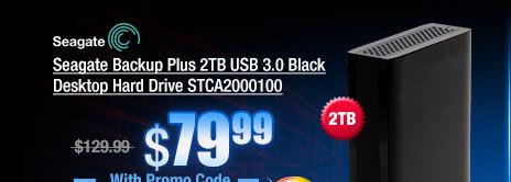 Seagate Backup Plus 2TB USB 3.0 Black Desktop Hard Drive STCA2000100
