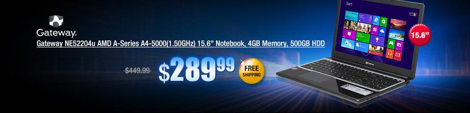 Gateway NE52204u AMD A-Series A4-5000(1.50GHz) 15.6 inch Notebook, 4GB Memory, 500GB HDD