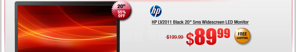 "HP LV2011 Black 20"" 5ms Widescreen LED Monitor"