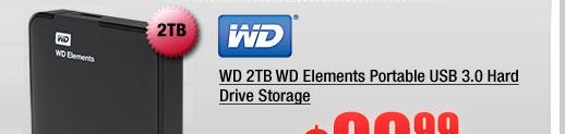 WD 2TB WD Elements Portable USB 3.0 Hard Drive Storage