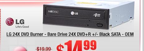 LG 24X DVD Burner - Bare Drive 24X DVD+R +/- Black SATA - OEM