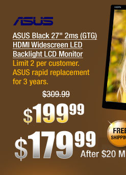 "ASUS Black 27"" 2ms (GTG) HDMI Widescreen LED Backlight LCD Monitor"