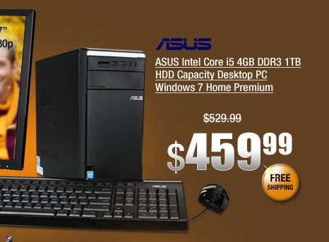 ASUS Intel Core i5 4GB DDR3 1TB HDD Capacity Desktop PC Windows 7 Home Premium