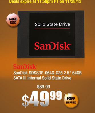 "SanDisk SDSSDP-064G-G25 2.5"" 64GB SATA III Internal Solid State Drive"