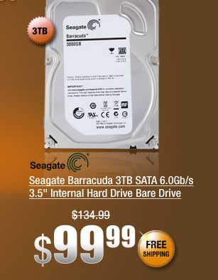 "Seagate Barracuda 3TB SATA 6.0Gb/s 3.5"" Internal Hard Drive Bare Drive"