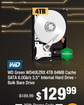 "WD Green WD40EZRX 4TB 64MB Cache SATA 6.0Gb/s 3.5"" Internal Hard Drive - Bulk Bare Drive"