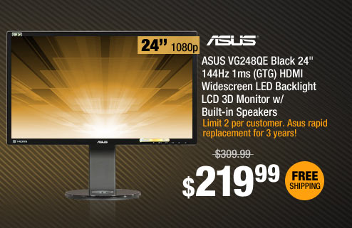 "ASUS VG248QE Black 24"" 144Hz 1ms (GTG) HDMI Widescreen LED Backlight LCD 3D Monitor w/ Built-in Speakers"
