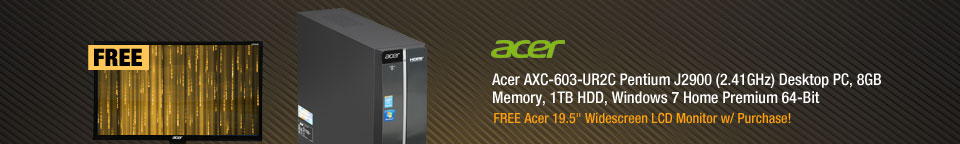 Acer AXC-603-UR2C Desktop PCPentium J2900 (2.41GHz) 8GB DDR3 1TB HDD Windows 7 Home Premium 64-Bit