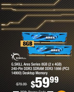 G.SKILL Ares Series 8GB (2 x 4GB) 240-Pin DDR3 SDRAM DDR3 1866 (PC3 14900) Desktop Memory