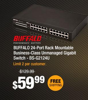 BUFFALO 24-Port Rack Mountable Business-Class Unmanaged Gigabit Switch - BS-G2124U