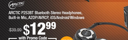 ARCTIC P253BT Bluetooth Stereo Headphones, Built-in Mic, A2DP/AVRCP, iOS/Android/Windows