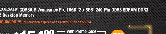 CORSAIR Vengeance Pro 16GB (2 x 8GB) 240-Pin DDR3 SDRAM DDR3 1866 Desktop Memory