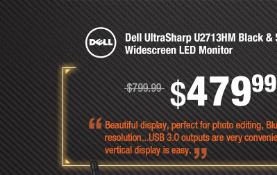 "Dell UltraSharp U2713HM Black & Silver 27"" 8ms (GTG) IPS-Panel HDMI Widescreen LED Monitor"