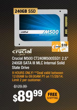 "Crucial M500 CT240M500SSD1 2.5"" 240GB SATA III MLC Internal Solid State Drive"