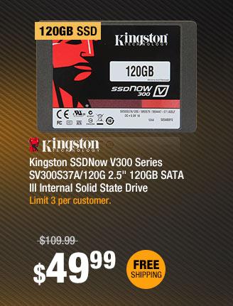 "Kingston SSDNow V300 Series SV300S37A/120G 2.5"" 120GB SATA III Internal Solid State Drive"